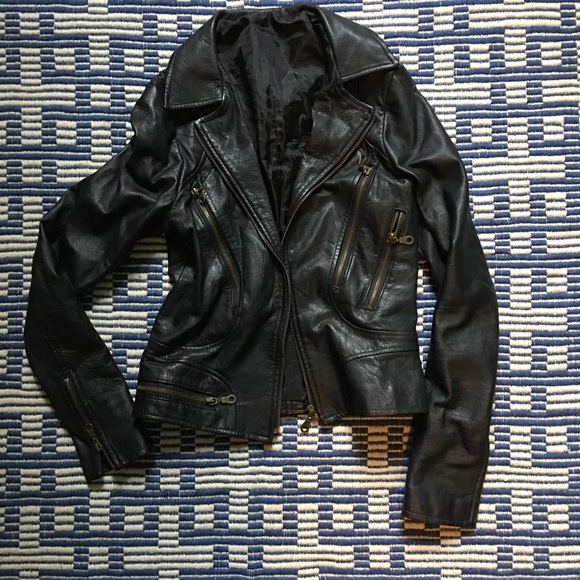 Jackets & Blazers - Fitted Black Lamb Leather Moto Jacket w/ Zippers